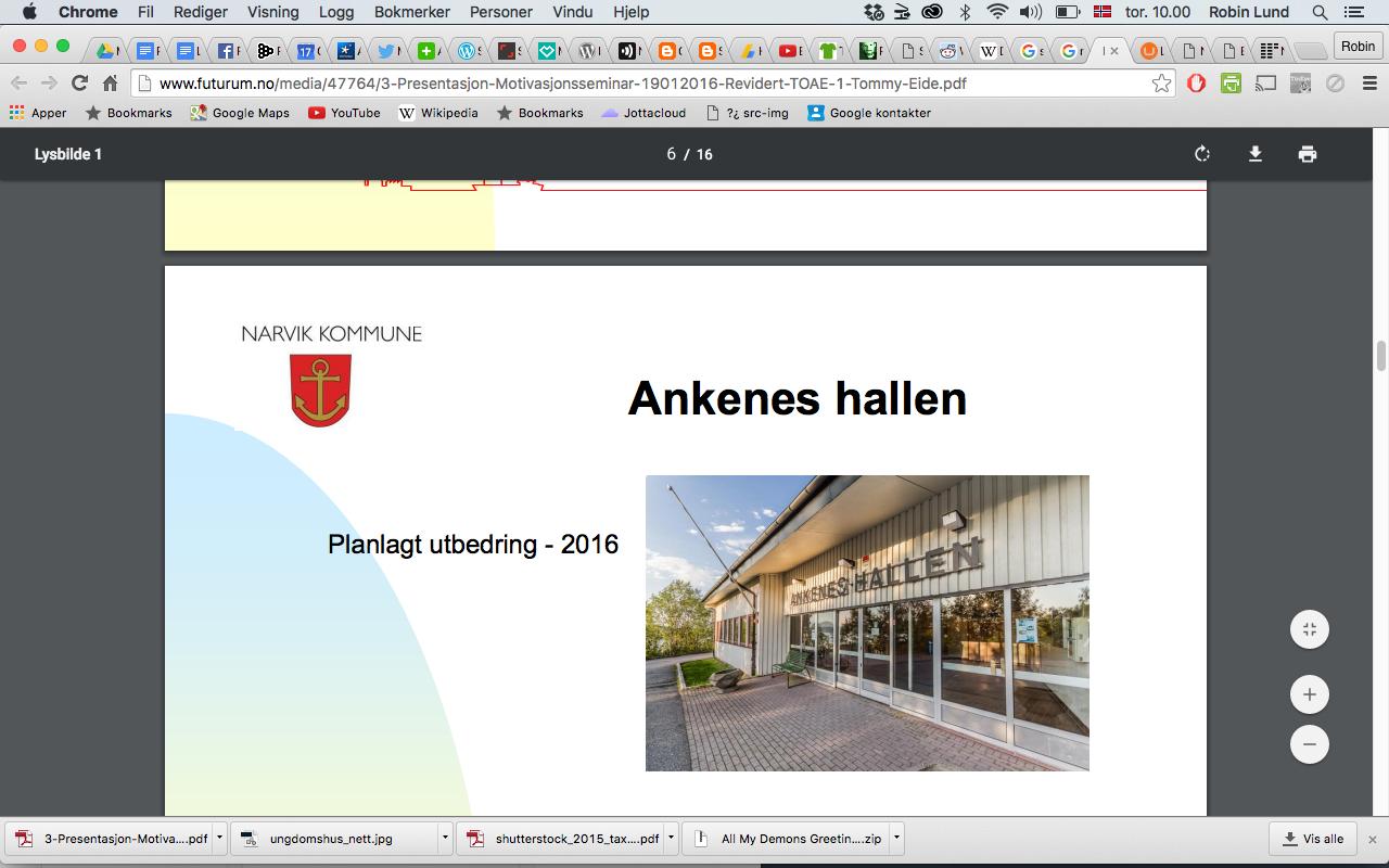 Dokumentasjon skjermbilde bildetyveri Ankeneshallen.